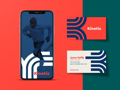 Kinetic   Part 2 badges jay master design brand business cards phone app exercise fitness print typography illustration branding packaging identity logo