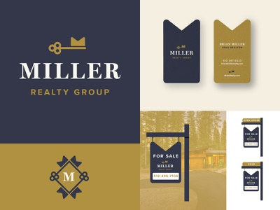 Miller Realty graphic package branding identity logo badges packaging jay master design monogram key real estate branding real estate typography print brand branding design