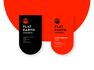 Flat Earth Concrete - Business Cards world illustration texas die-cut business cards concrete flat earth jay master design print badges typography identity branding packaging logo