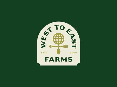 West to East Farms earth illustration monogram farm weather vane spoon fork world badges print typography branding packaging identity logo