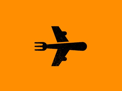 Forking Plane illustration airplane to go restaurant food fork plane typography print brand jay master design badges branding packaging identity logo