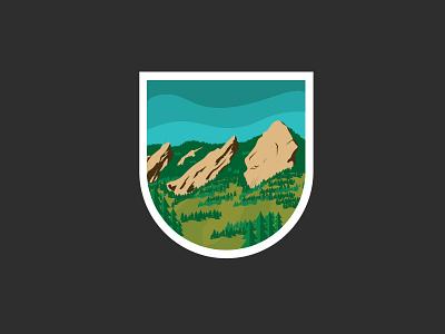 Flatirons Badge  explore nature logo graphic icon badge illustration mountains boulder co design flatirons graphic design