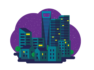 Night time in the city graphic design illustration design city vector icon graphic logo night 7 days to create