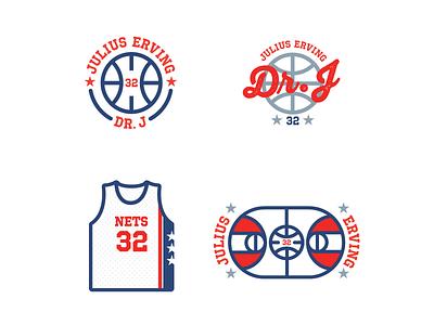 Dr. J thang old school retro typography graphic design basketball illustration design