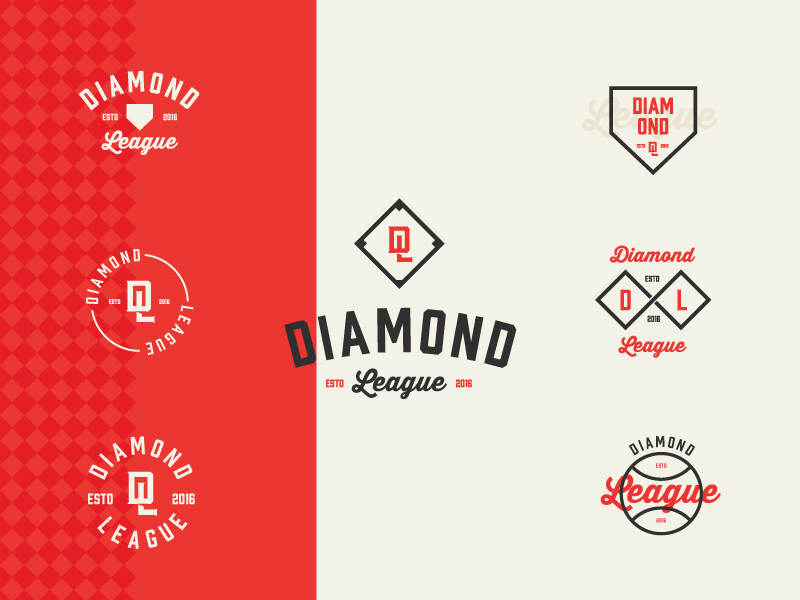 Diamond League badges brand logos typography baseball graphic design