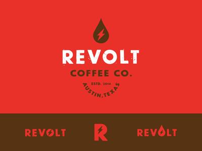 Revolt Coffee live design co. jay master design texas austin red identity logo caffeine nitro ice coffee coffee revolt