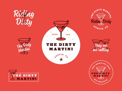 The Dirty Martini martini bar package design brand package branding identity logo badges apparel packaging