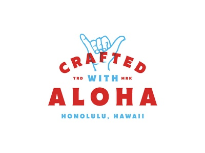 Crafted Aloha packaging shaka badge logo jay master design aloha hawaii