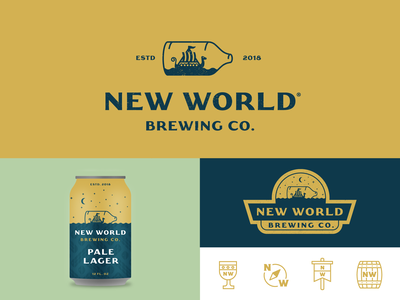 New World Brewing typography icon badge identity logo vintage viking graphic design branding packaging beer