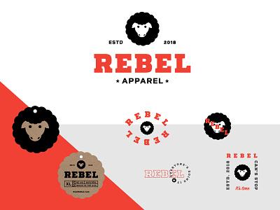 Rebel Apparel apparel badges typography graphic design illustration packaging identity logo