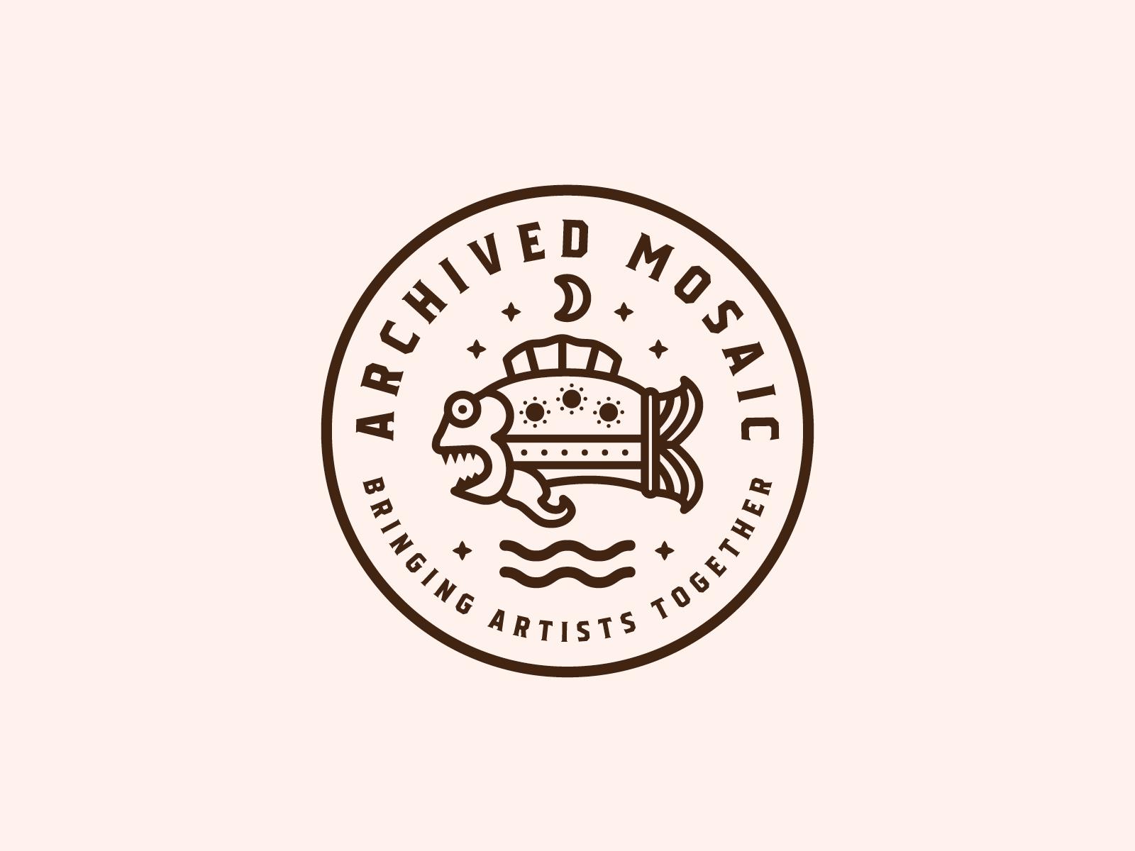 Archived Mosaic custom badge branding fish artist typography identity packaging illustration logo