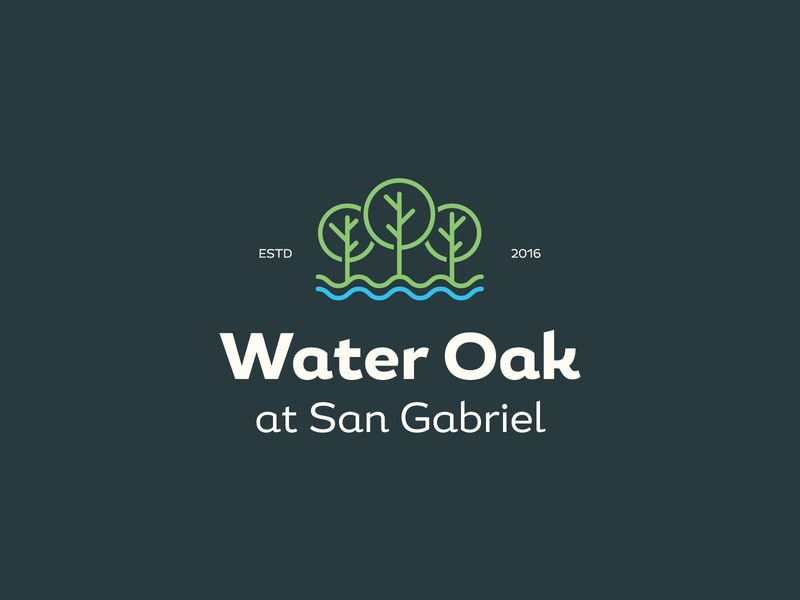 Water Oak three mark icon symbol mark brand lake waves river water trees real estate badges typography branding packaging identity logo