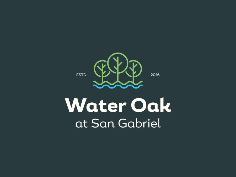 Water Oak three mark icon symbol mark brand lake waves river water trees real estate badges typography branding packaging identity logo