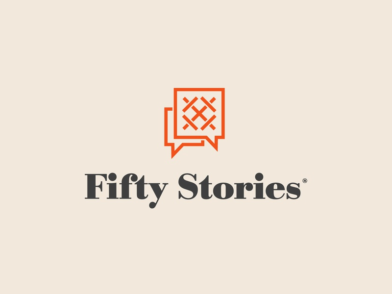 Fifty Stories 50 roman numerals fifty ui badges custom type typography illustration branding packaging identity logo