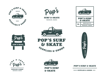 Pop's Surf & Skate aloha hawaii kauai tshirt apparel vintage truck surfing surf badges brand typography branding graphic design illustration packaging identity logo