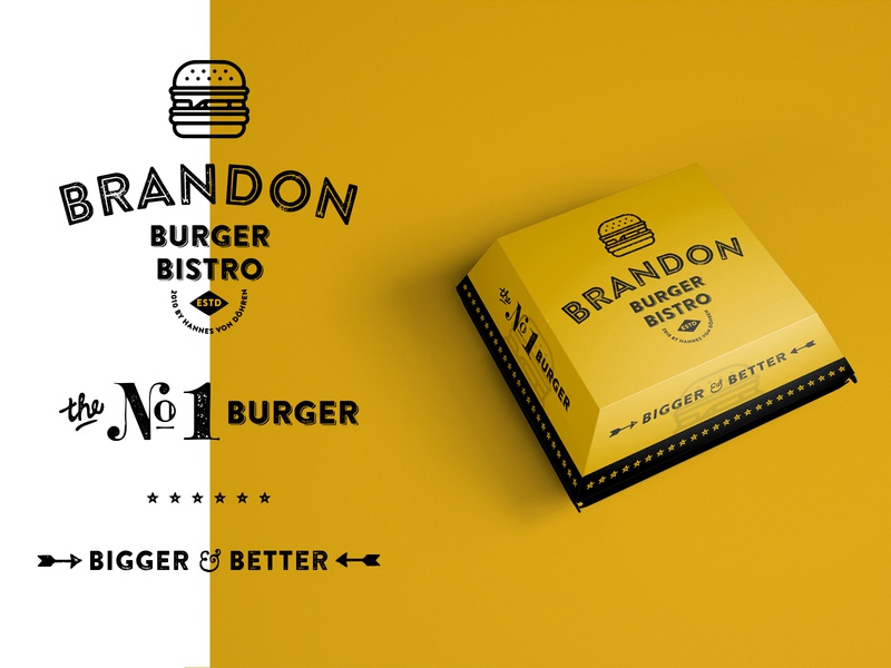 B = Brandon + Burger package design package brand badges typography graphic design branding illustration packaging identity logo