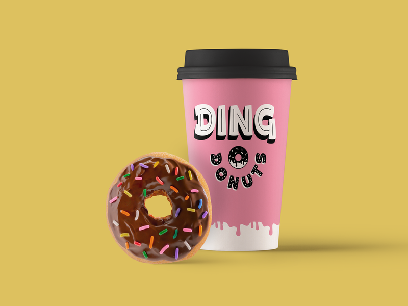Ding coffee donut jay master design apparel package brand badges typography design branding identity packaging logo