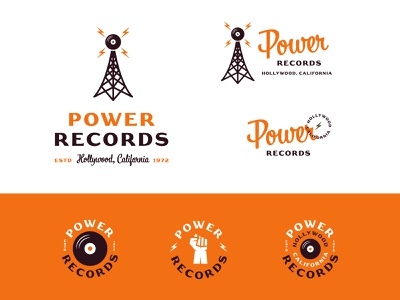 Power Records graphic design package design apparel brand jay master design package badges illustration typography branding packaging identity logo