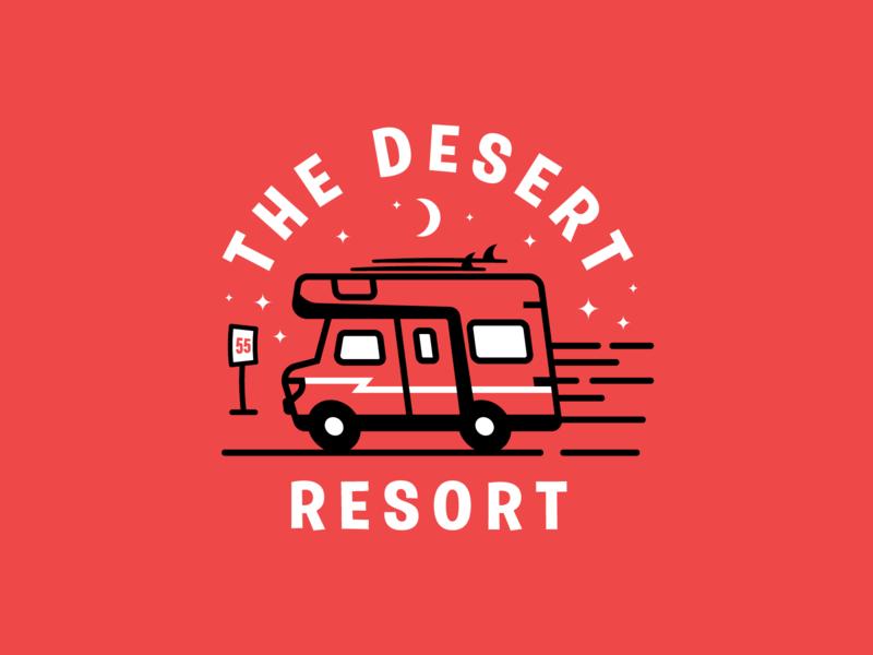 Desert Resort icon rv desert ui package badges typography illustration branding packaging identity logo