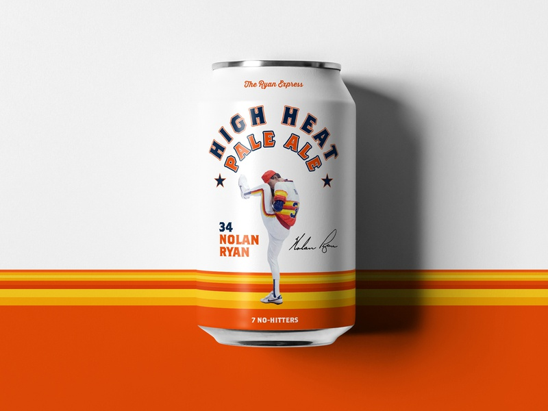 Nolan Ryan - Tribute cans fast ball pitcher baseball can austin brewery beer jay master design package badges illustration typography branding packaging identity logo