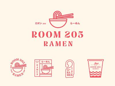 Room 205 Ramen japan packging package jay master design badges ramen illustration typography branding packaging logo