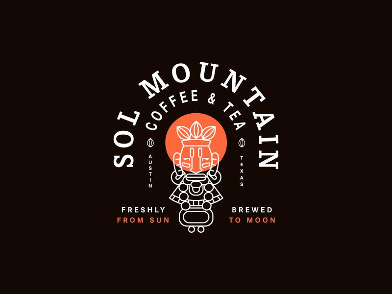 Sol Mountain Coffee moon sun print typography logo brand badge illustration packaging identity branding tea mayan coffee