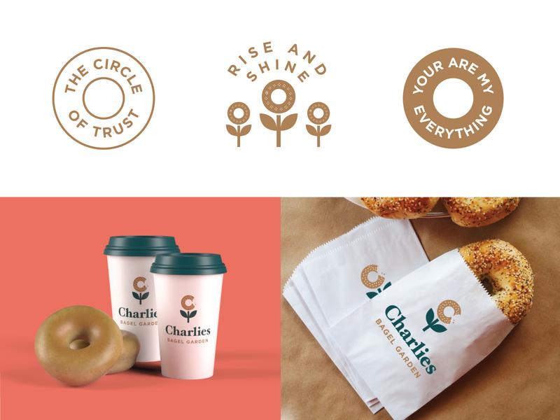 Charlies Bagels circle custom type print garden flower cups coffee bagel badges typography illustration branding packaging identity logo