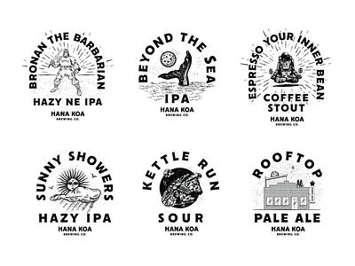 Hana Koa badges beer parsec asteroid building roof rain astronaut sun moon whale barbarian typography jay master design badges branding packaging illustration identity logo