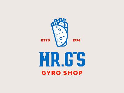 MR. G's greek gyro restaurant branding restaurant jay master design brand design badges graphic design typography illustration branding packaging identity logo