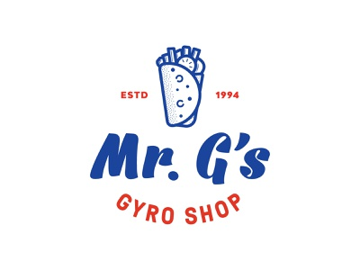 Mr. G's Gyro Shop smile apparel pita mark gyro food icon restaurant branding restaurant logo restaurant jay master design badges typography illustration branding packaging identity logo