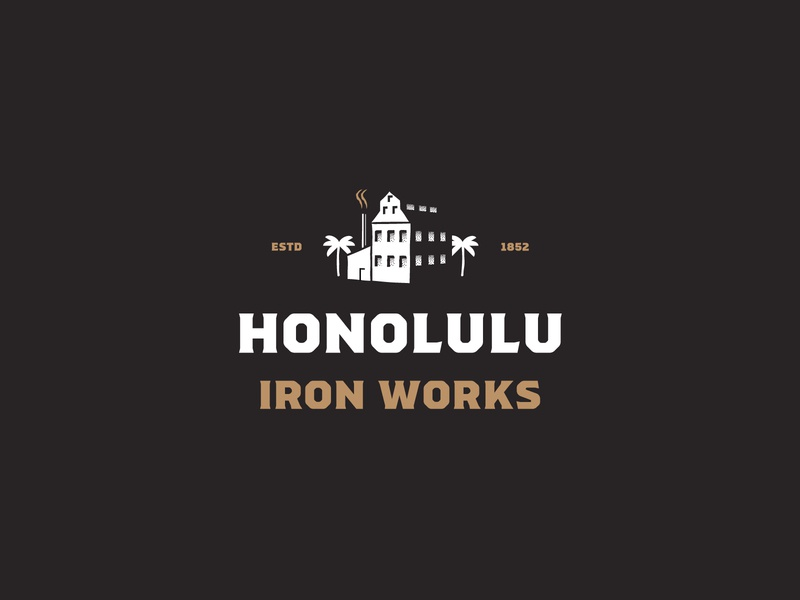 Honolulu Iron Works iron works works palmtree building house iron hawaii honolulu package design badges illustration print typography branding packaging identity logo