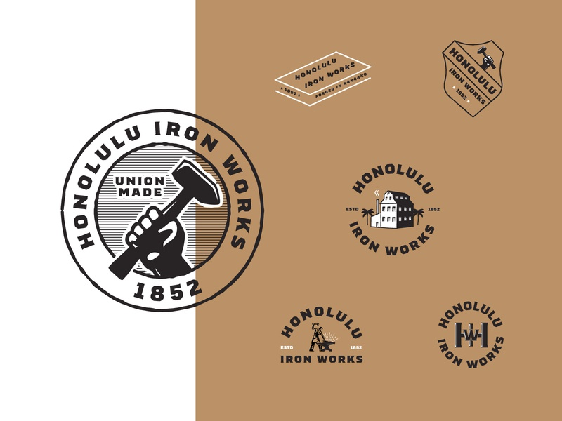 Honolulu Iron Works - Part 2 negative space house monogram crest hand anvil iron honolulu austin graphic design badges typography branding packaging identity logo