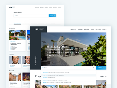 Institutional Property Advisor — Search Result blue property search sitewide search results suggested result search research real estate advisor property institutional