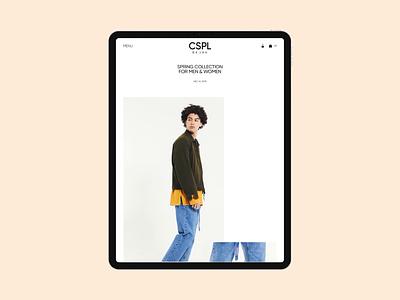 Cospalmer® clothing lookbook white design promo main minimal website motion animation ux ui web