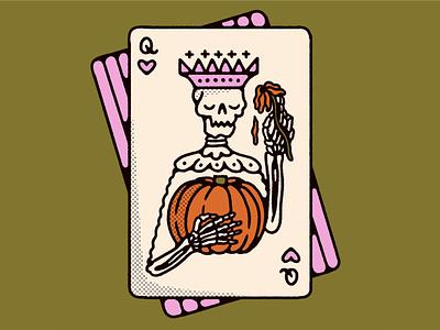 inktober 08 ✿ crown retro vintage icon pumpkin spooky halloween skeleton skull queen queen of hearts playing cards card illustration inktober