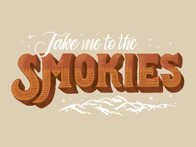Great Smoky Mountains smoky mountains smokies type hand lettering lettering retro vintage typography mountains national park
