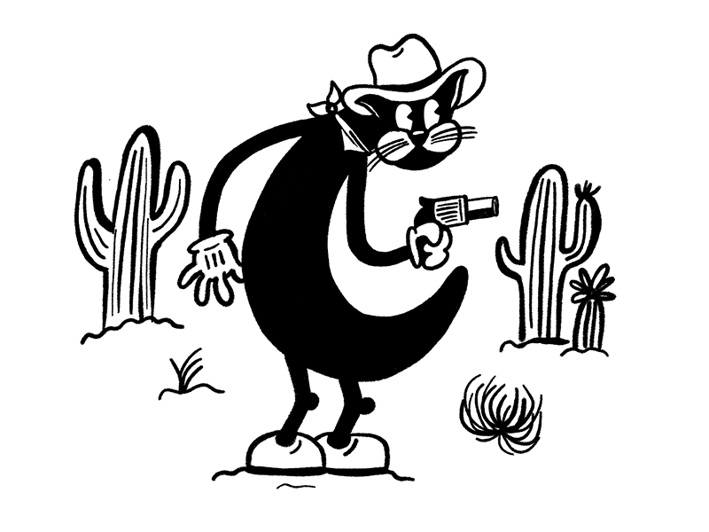 36 Days of Type - C cactus cowboy cat thirties 30s cartoon character cartoon retro c letter 36 days of type