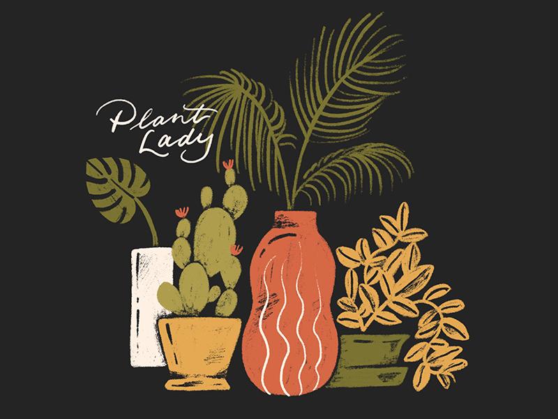 Plant Lady plants fern cactus plant lady lady illustration plant