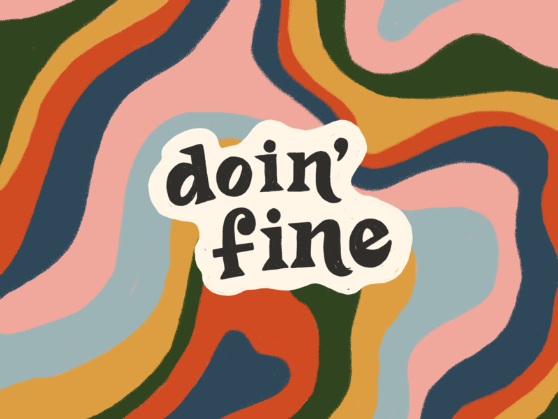 Monday Vibes fine psychadelic marble illustration modern vintage hand lettering lettering