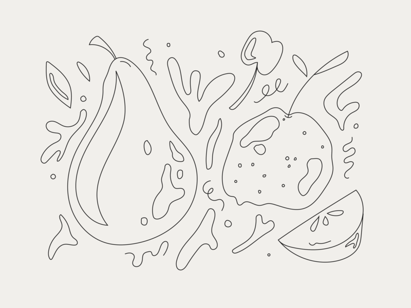 some funky fruit 🍇🍈🍉🍊🍋🍌🍍 pattern icon organic line art sketch matisse funky vector fruit