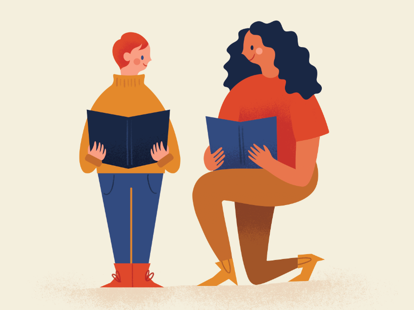 Becoming a Mentor teacher teaching children kids texture modern retro icon illustration vintage