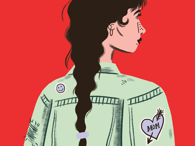 Inktober - Denim fall illustration woman denim 90s fashion inktober
