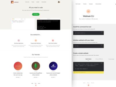 Webtask - All you need is code. homepage product landing