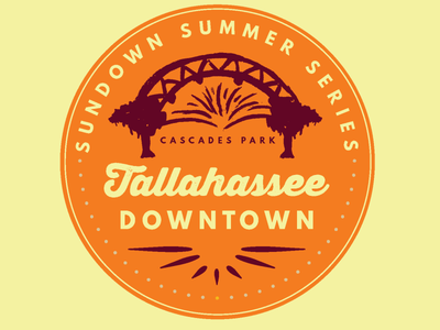 Summer Sundown Series Tallahassee illustration vector logo typography series summer party trees oak amphitheater park cascades downtown florida state florida tallahassee