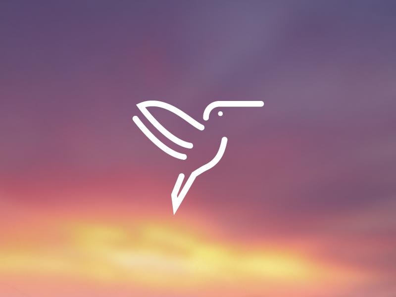 Simple Hummingbird bird simple line abstract