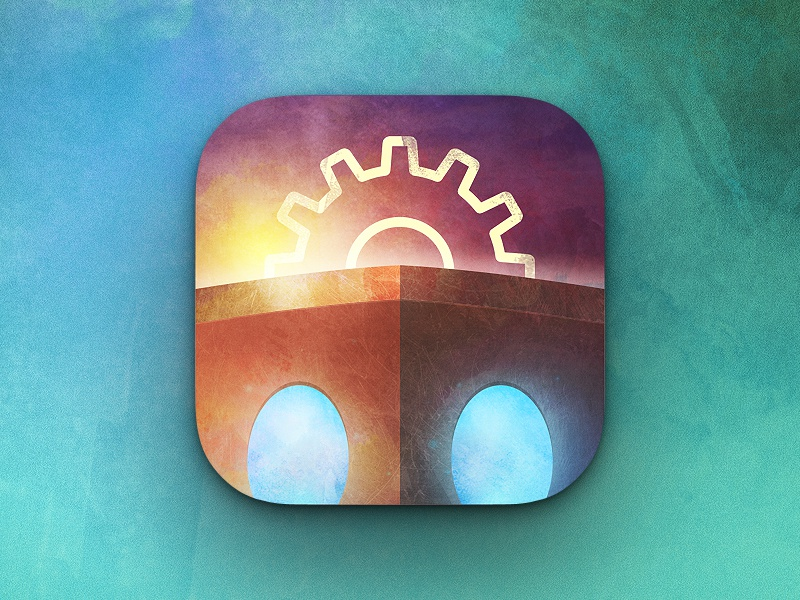 Genesis Project App Icon robot sunset app ios ios7 apple iphone watercolor paint texture