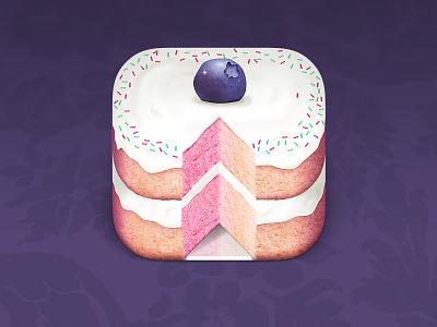 Cake iOS App Icon ios app icon slice frosting sprinkles blueberry dessert