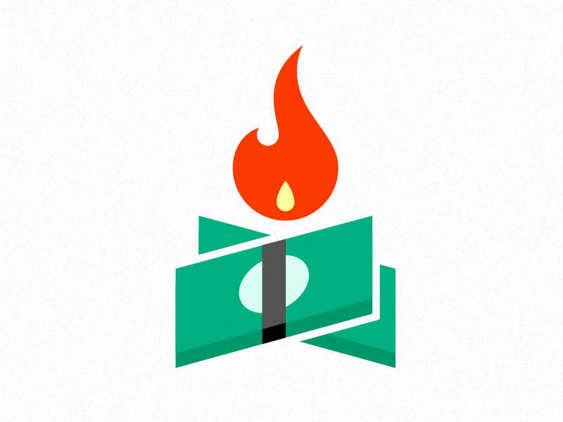 Money on Fire logo icon fire flame money cash stack burn