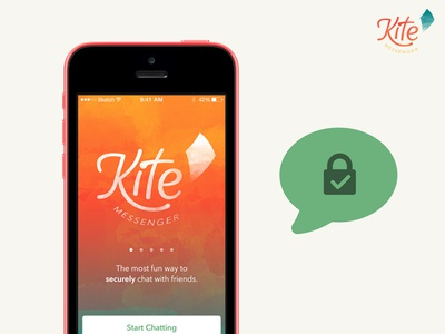 Kite Messenger (iOS Secure Chat App) design app fun watercolor security chat ios
