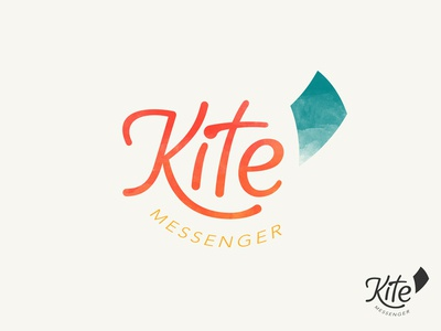 Kite Messenger Logo watercolor texture whimsical logo messenger chat secure app ios